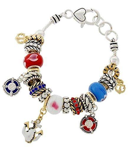 Nautical Charm Bracelet C56 Red White Blue Murano Glass B... www.amazon.com/...