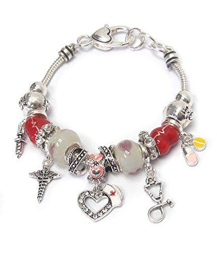 Nurse Theme Charm Bracelet Z3 Euro Style Murano Multi Bea... www.amazon.com/...