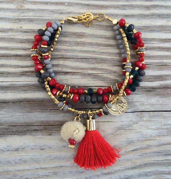 OOAK armcandy ensemble: 4 bracelets de perles dans de belles couleurs avec le gl...