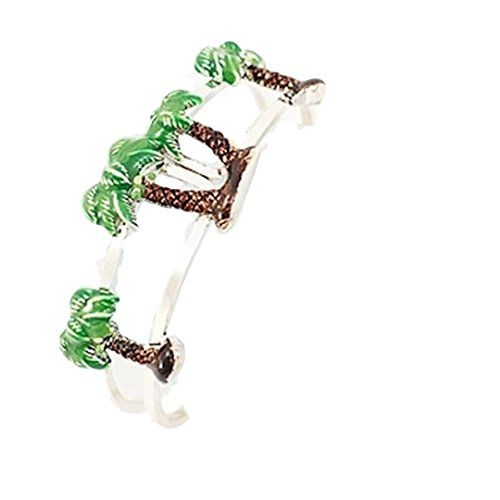 Palm Tree Bracelet C31 Hinged Bangle Green Silver Tone Re... www.amazon.com/...