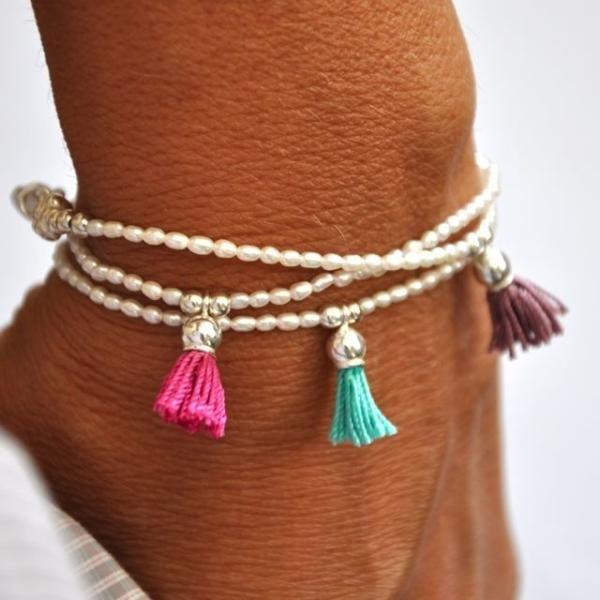 Pearl and tassel bracelet Turquoise | Vivien Frank Designs