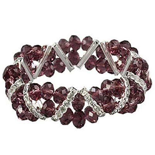 Crystal Stretch Bracelet Z1 Clear Purple Amethyst Evening... www.amazon.com/...