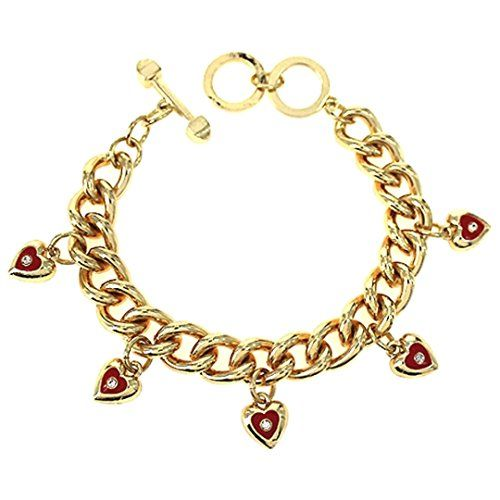 Red Heart Mini Charm Bracelet C49 Clear Crystal Chunky Li... www.amazon.com/...