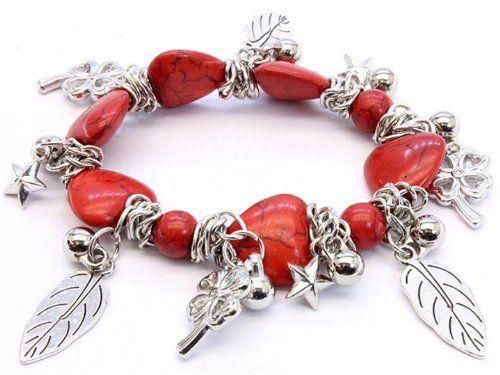 Red Stone Heart Bracelet Stretch Shamrock Leaf Charm C01 ... www.amazon.com/...