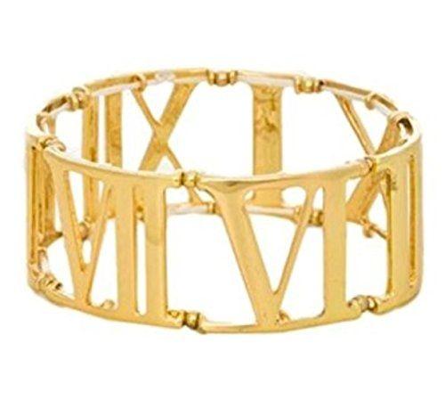 Roman Numeral Bracelet D13 Stretch Gold Tone Recyclebabe ... www.amazon.com/...
