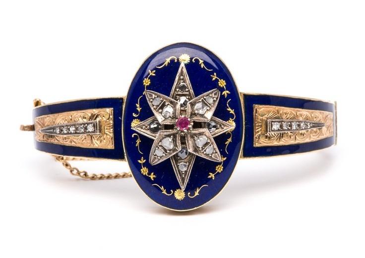 Ruby, diamond, enamel and gold bracelet.