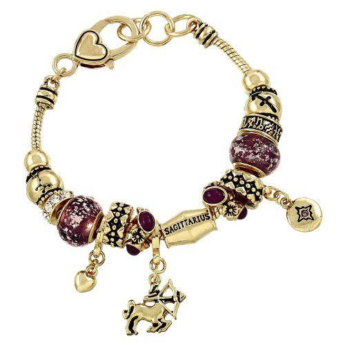 Sagittarius Charm Bracelet Z2 Purple Murano Zodiac Man Ho... www.amazon.com/...