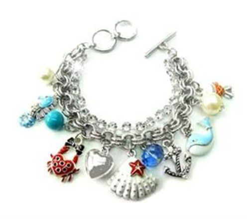 Sea Life Charm Bracelet D6 Crystal Pearl Bead Fish Crab S... www.amazon.com/...