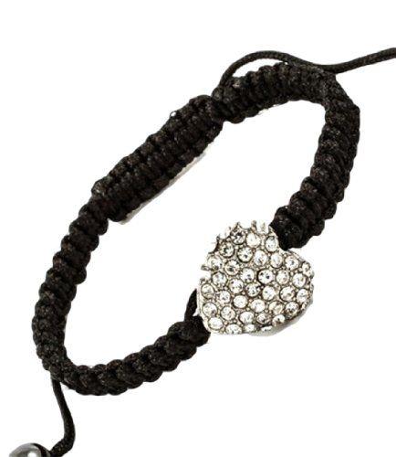 Single Heart Bracelet Crystal Friendship BP Cinch Black B... www.amazon.com/...