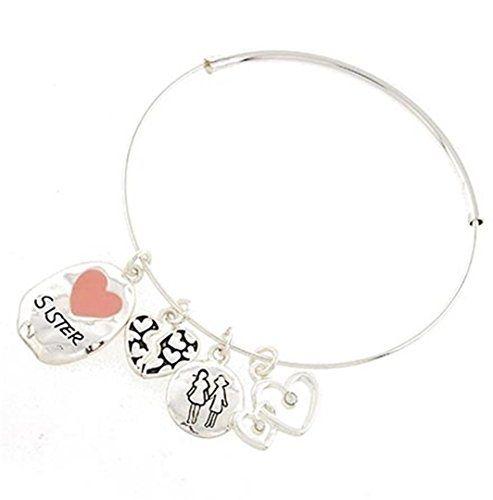 Sister Adjustable Bracelet Z1 Bangle Hearts Family Silver... www.amazon.com/...