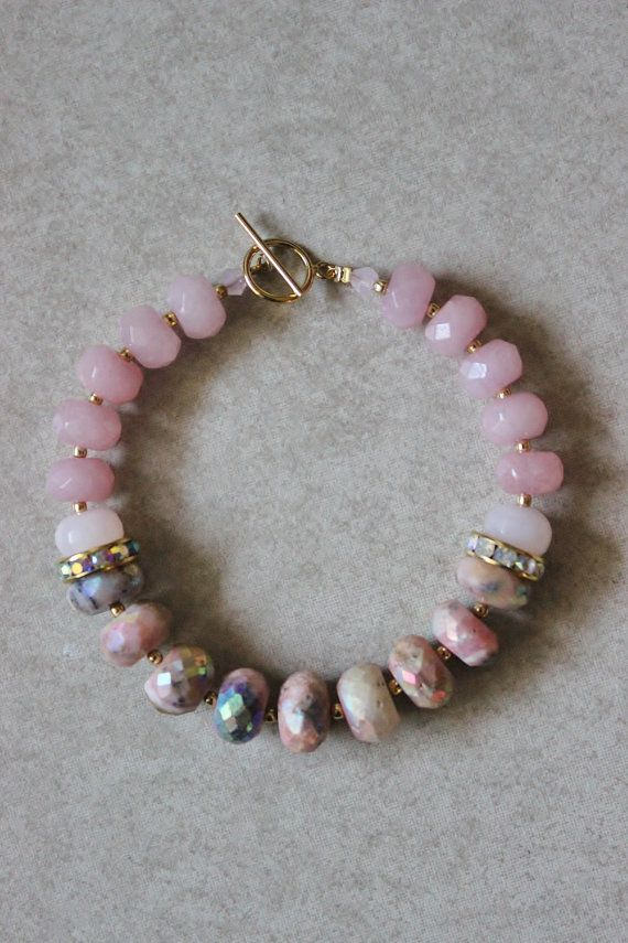 This is my newest spring stone bracelet. I accented the strand with gold Indian ...