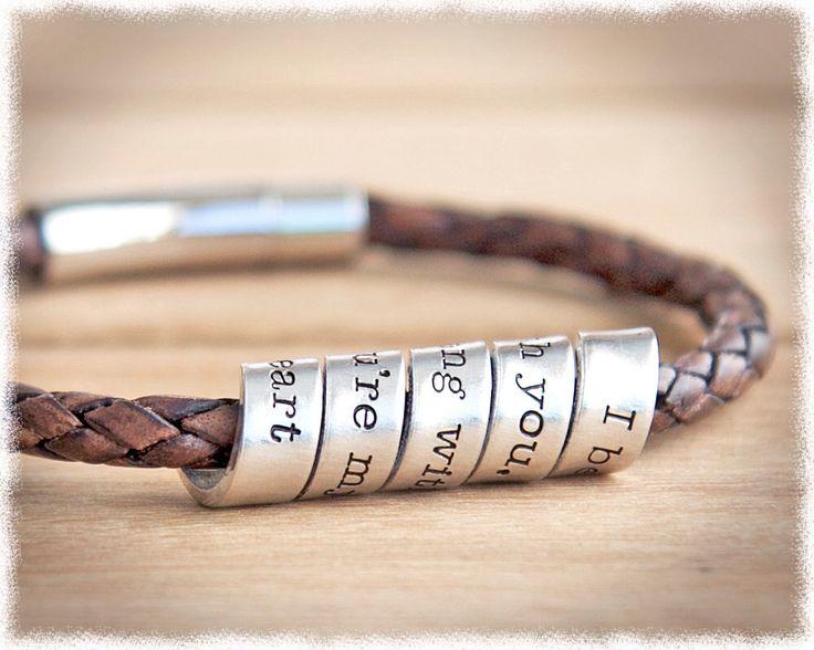 Hidden Message Bracelet • Men's Leather Bracelet • Anniversary Gift • Men'...