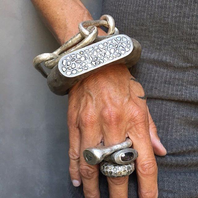 Mega pave rough cut diamonds! #romanbracelet #megapave #romanring #reddiamond #p...