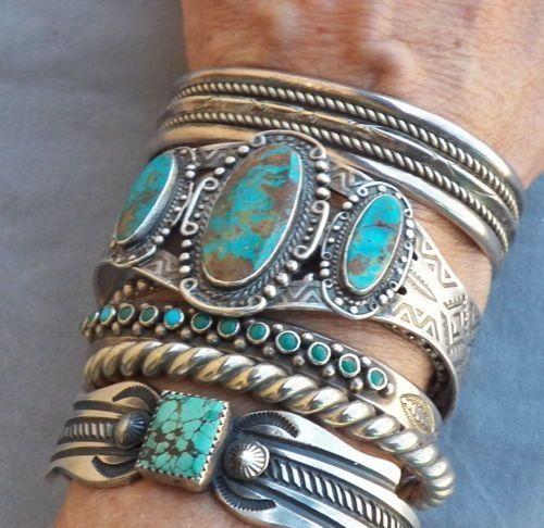 Old Vintage Fred Harvey Era Sterling Silver Turquoise Cuff Bracelet Ebay By