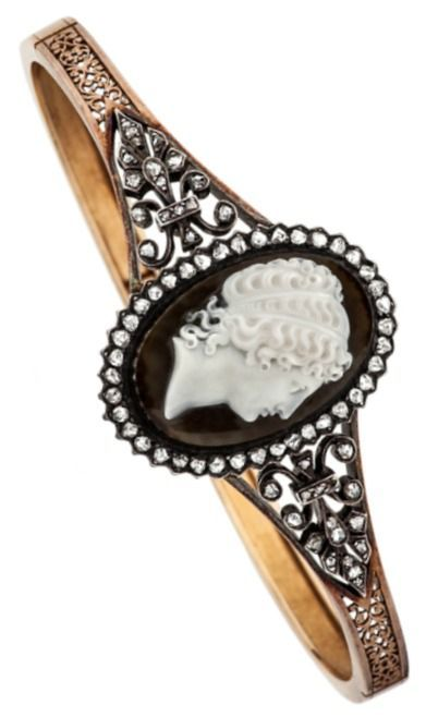 Victorian Diamond Gold Carved Hardstone Cameo Bracelet. This French Victorian, c...