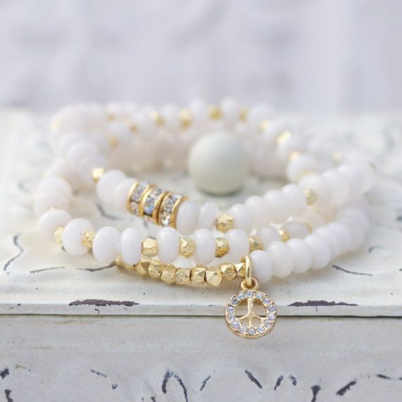White Jade Stretch Bracelet with Gold Plated Brass Nuggets and Rhinestone Peace ...