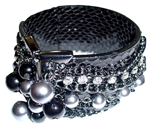 Wide Cuff Bracelet CST with Chains and Beads Crystal Recy... www.amazon.com/...