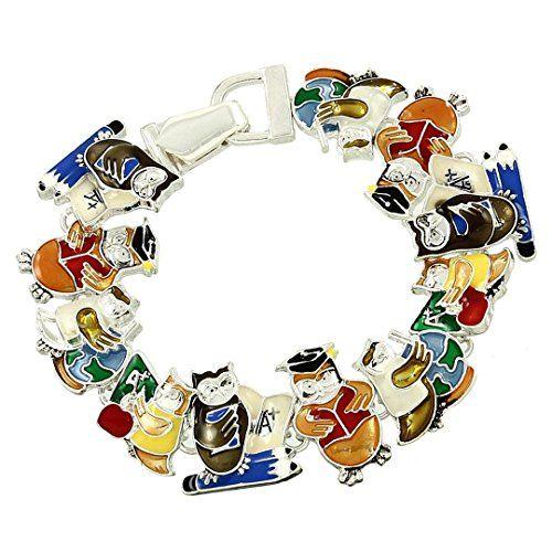 Teacher Magnetic Charm Bracelet C46 Owl Fold Over Clasp R... www.amazon.com/...