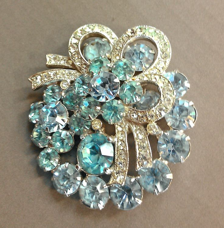 1970s Eisenberg Ice Rhinestone Brooch Blue Stones by VintageByTangerineB on Etsy
