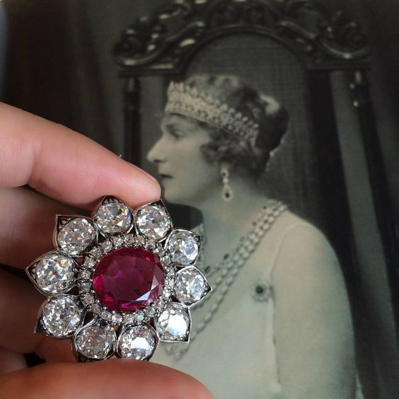 A Queen and her brooch. This ruby and diamond brooch once belonged to Queen Vict...