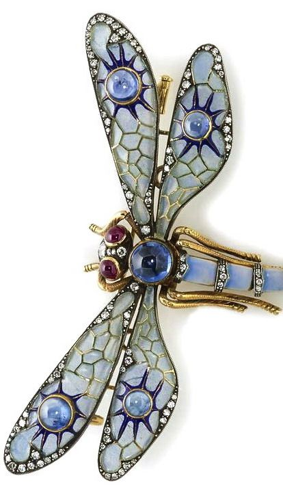 A plique-à-jour enamel, sapphire, ruby and diamond articulated dragonfly brooch...