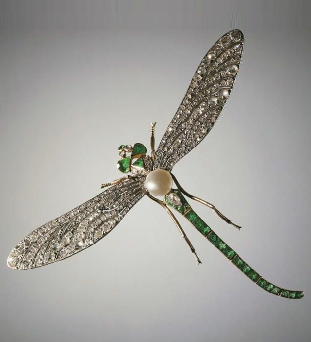 An antique dragonfly brooch, Saint-Petersburg, 1899-1908. Composed of silver…