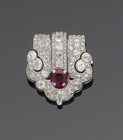 Brooches An Art Deco Ruby And Diamond Clip Brooch By