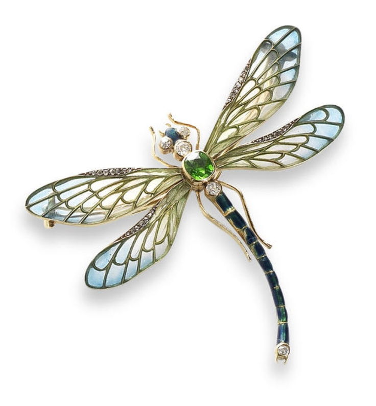 An enamel, demantoid garnet and diamond dragonfly brooch, circa 1900 The thorax ...