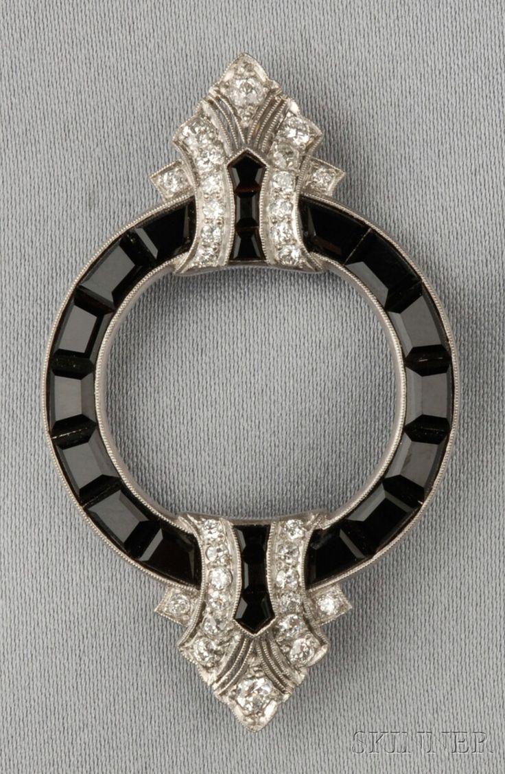 Art Deco Platinum, Onyx, and Diamond Brooch, set with fancy-cut black onyx, old ...