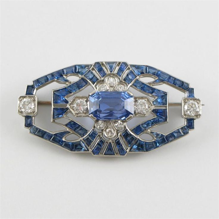 Art Deco sapphire and diamond plaque brooch