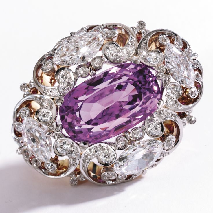 Belle Epoque. Platinum, Gold, Purple Sapphire, and Diamond Brooch, c1900.