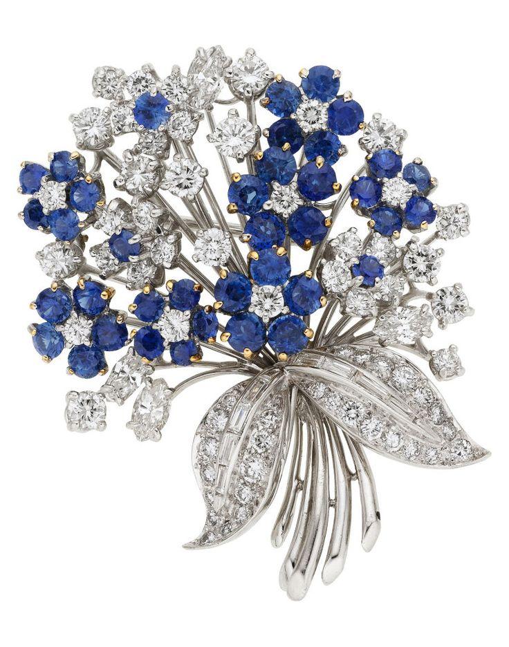 Diamond, Sapphire, Platinum Brooch, Oscar Heyman Bros. The brooch features full-...