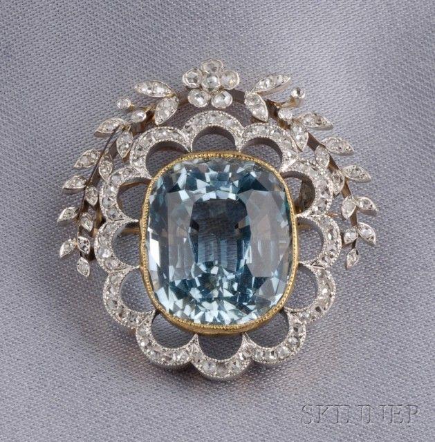 Edwardian Aquamarine and Diamond Brooch, | Sale Number 2487, Lot Number 504 | Sk...