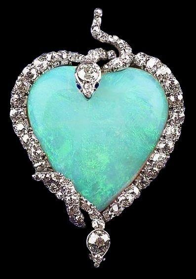 Edwardian opal, sapphire and diamond snake pendant / brooch.