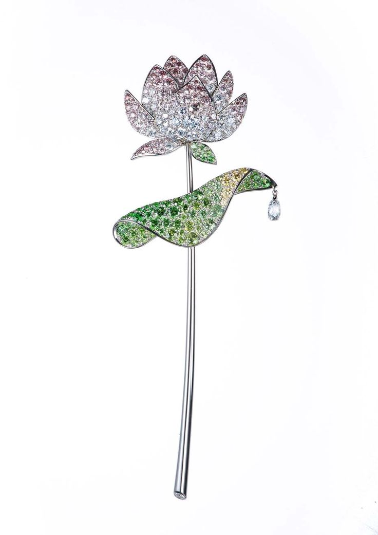 Gimel's platinum Lotus brooch from 2001 with pavé-set pink and colourless d...
