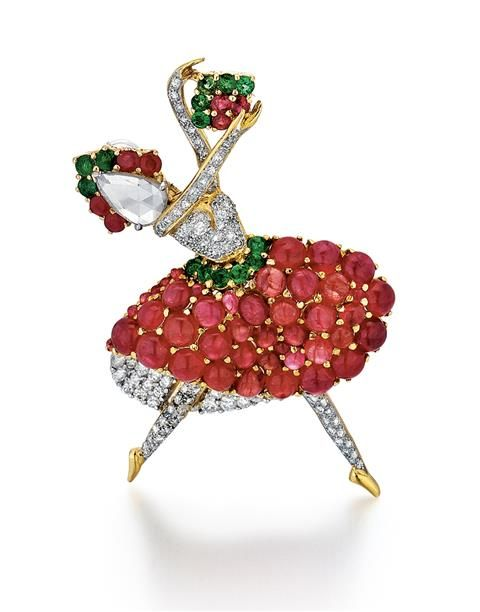 18kt Yellow Gold, Ruby, Emerald and Diamond Ballerina Pin. Van Cleef and Arpels