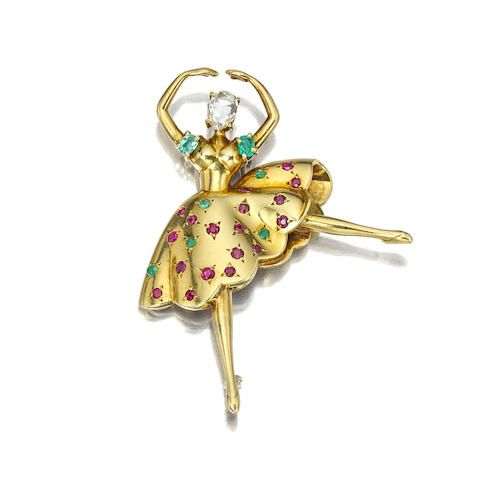 Brooches Jewels A Diamond Emerald And Ruby Quot Danseuse