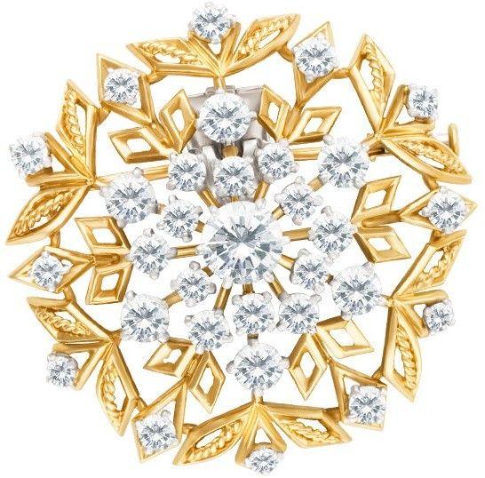 Cartier 18k Yellow Gold Diamond Floral Brooch
