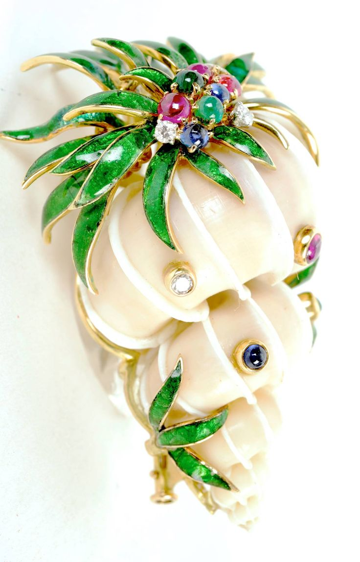 David Webb Rare Jeweled Shell Brooch | From a unique collection of vintage brooc...