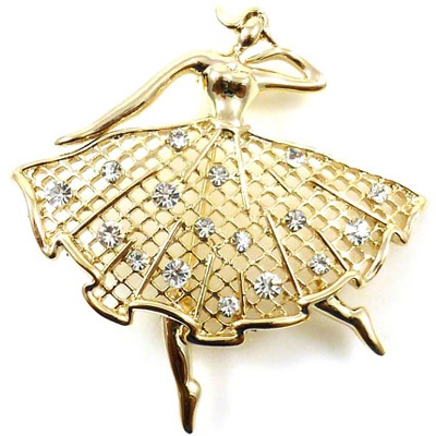 Gold Mesh & Crystal Dancing Ballerina Brooch