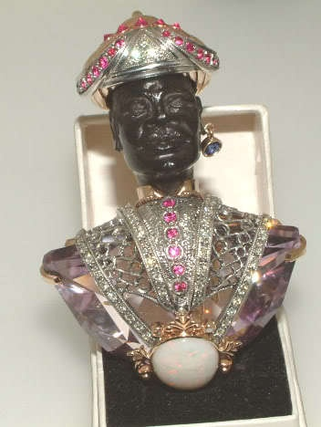 HUGE GOLD AMETHYST OPAL DIAMOND BLACKAMOOR BROOCH
