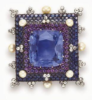 JAR Sapphire, Diamond, Violet Sapphire, and Pearl Brooch