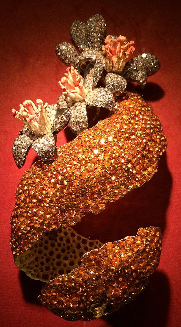 Orange Peel Brooch by JAR, garnet, diamond, enamel, silver, gold, 2001. Photo by...