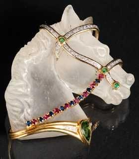 Rock Crystal Gold Diamond Horse Pin