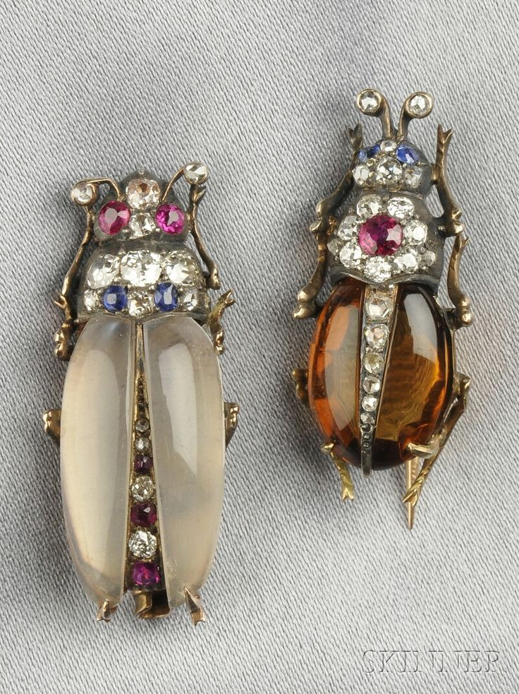 Two Antique Gem-set Insect Brooches, with citrine and moonstone bodies and ruby ...