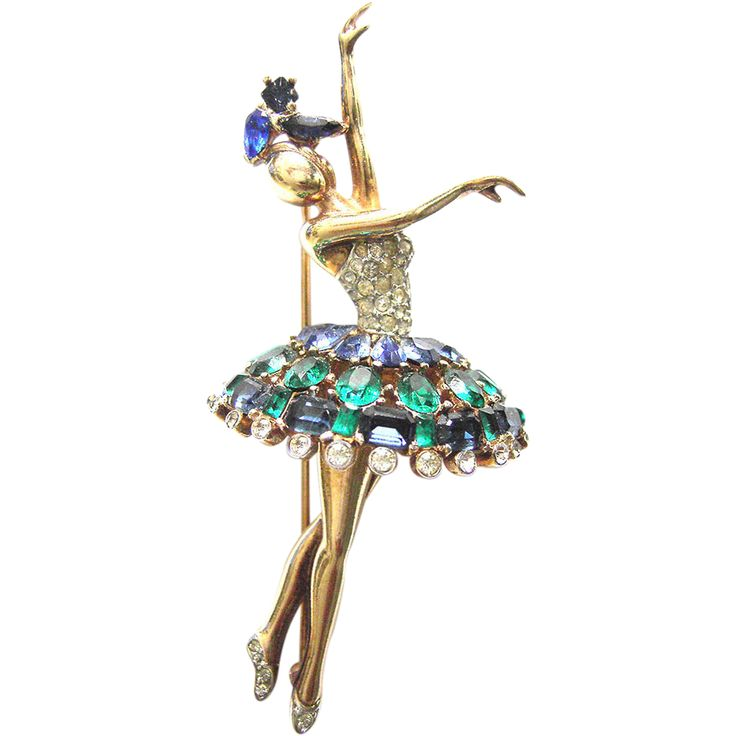Vintage Trifari Ballerina Pin Brooch with Paste  green, blue and white paste sto...