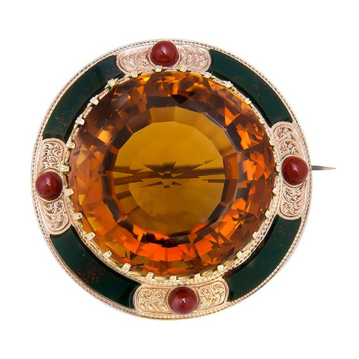 Large Citrine Gold Scottish Brooch c1880s | From a unique collection of vintage ...