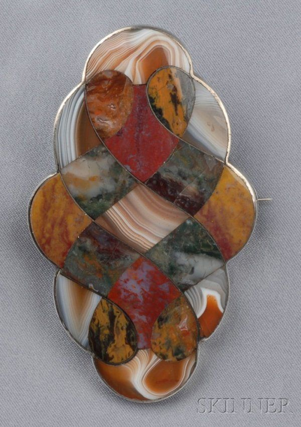 Large Victorian Silver and Scottish Agate Brooch, set with various agates, marbl...