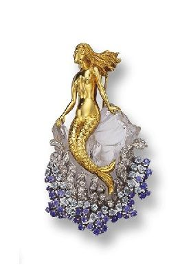 Rock Crystal, Sapphire and Diamond 'Mermaid' Brooch, Verdura, circa 1945