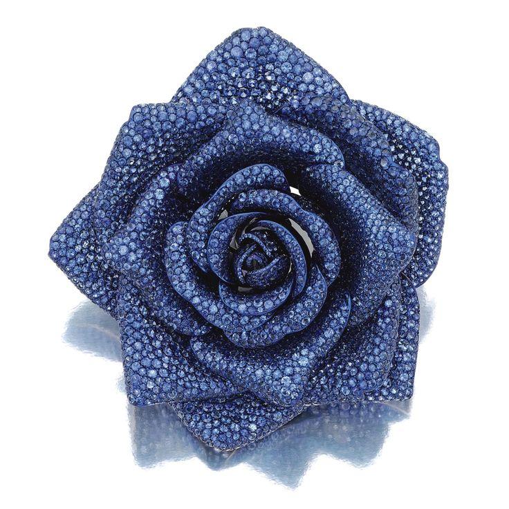 Sapphire brooch, 'LA ROSE DE BOURBON', Michele della Valle: designed as ...